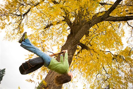 sitting under tree - Woman on Tire Swing in Autumn, Portland, Oregon Stock Photo - Rights-Managed, Code: 700-02125512