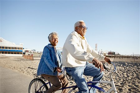 Seniors Riding Tandem Bicycle at Beach, Santa Monica Pier, Santa Monica, California, USA Stock Photo - Rights-Managed, Code: 700-02125694