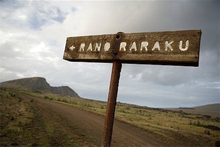 Sign and Road to Rano Raraku, Easter Island, Chile Stock Photo - Rights-Managed, Code: 700-02128887