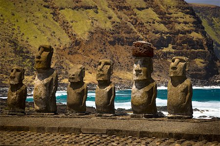 Moai, Tongariki Beach, Easter Island, Chile Stock Photo - Rights-Managed, Code: 700-02128892