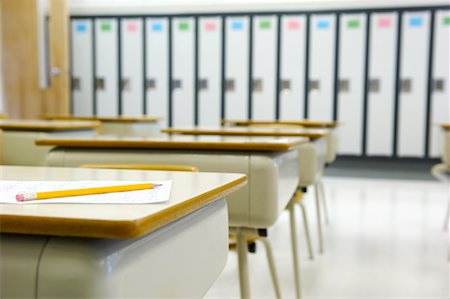 school desk - Pencil and Exam on School Desk Stock Photo - Rights-Managed, Code: 700-02121506