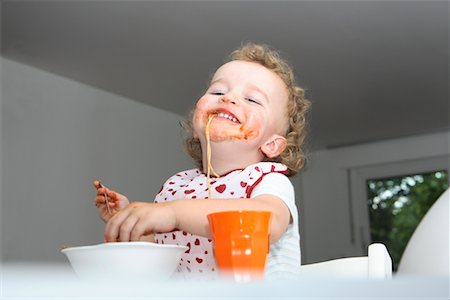 Baby Eating Spaghetti Stock Photo - Rights-Managed, Code: 700-02216104