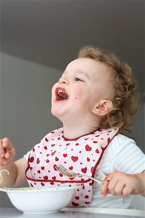 Baby Eating Spaghetti Stock Photo - Rights-Managed, Code: 700-02216105