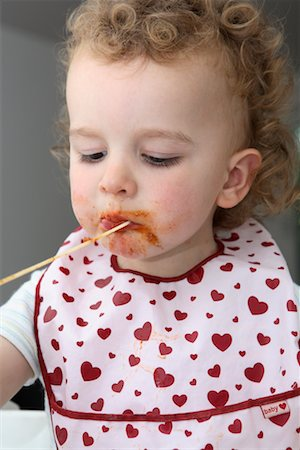 Baby Eating Spaghetti Stock Photo - Rights-Managed, Code: 700-02216101