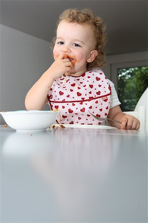 Baby Eating Spaghetti Stock Photo - Rights-Managed, Code: 700-02216102