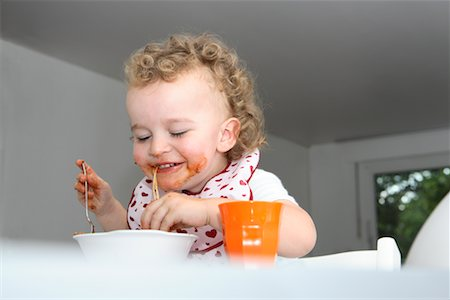 Baby Eating Spaghetti Stock Photo - Rights-Managed, Code: 700-02216103