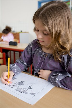 school desk - Girl Writing on Map at School Stock Photo - Rights-Managed, Code: 700-02217423