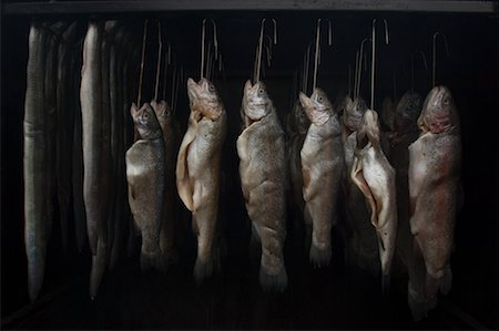 smoked - Eel and Trout in Smoke House, Flanders, Belgium Stock Photo - Rights-Managed, Code: 700-02223017