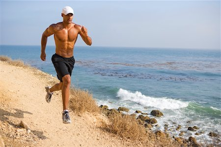 Man Running by Ocean, Palos Verdes, California, USA Stock Photo - Rights-Managed, Code: 700-02245428