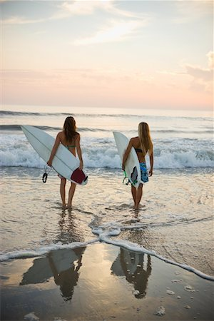 Surfers on the Beach at Sunset, Encinitas, San Diego County, California, USA Stock Photo - Rights-Managed, Code: 700-02245449