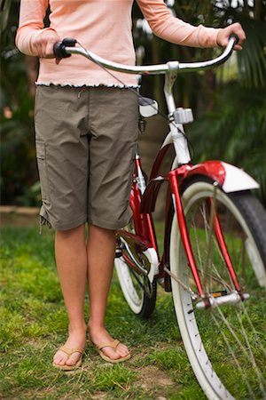 Woman Standing With Cruiser Bike, Encinitas, San Diego County, California, USA Stock Photo - Rights-Managed, Code: 700-02245466