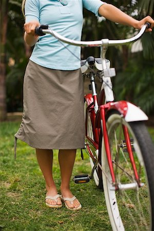 Woman Standing With Cruiser Bike, Encinitas, San Diego County, California, USA Stock Photo - Rights-Managed, Code: 700-02245467