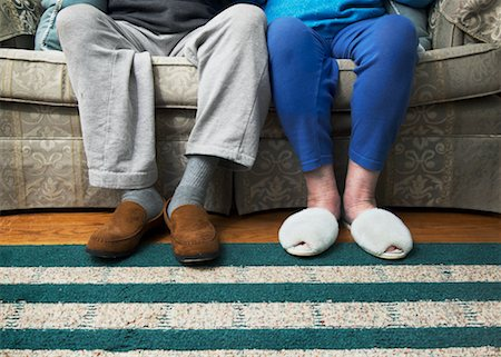 Legs of Couple Wearing Slippers Stock Photo - Rights-Managed, Code: 700-02245600
