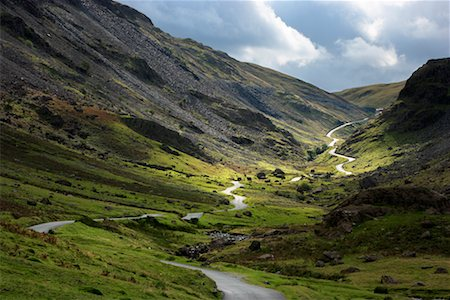 Mountain Road through Gorge, Cumbria, Lake District, England Stock Photo - Rights-Managed, Code: 700-02260021