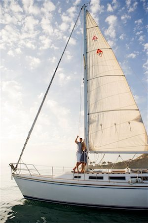 sports and sailing - Couple on Sailboat, San Diego, California, USA Stock Photo - Rights-Managed, Code: 700-02312306