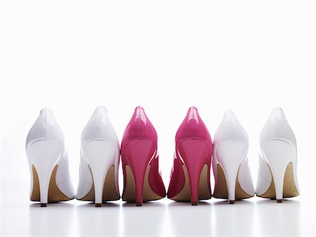 Row of White and Pink High Heel Shoes Stock Photo - Rights-Managed, Code: 700-02332746