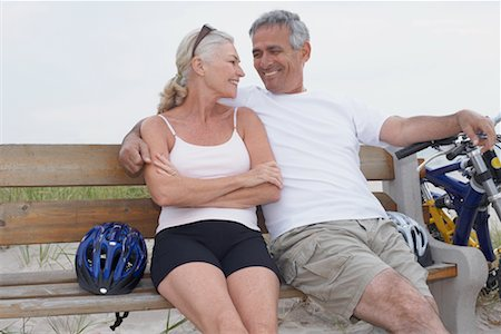 Couple Taking a Break From Bike Riding, Elmvale, Ontario, Canada Stock Photo - Rights-Managed, Code: 700-02346551