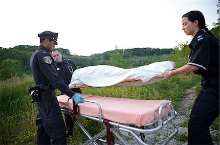 dead female body - Police Officer and Paramedics with Body Bag, Toronto, Ontario, Canada Stock Photo - Rights-Managed, Code: 700-02348170