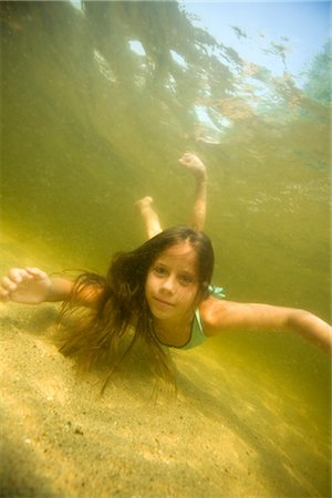 Little Girl Swimming in Long Lake Naples, Maine, USA Stock Photo - Rights-Managed, Code: 700-02348568
