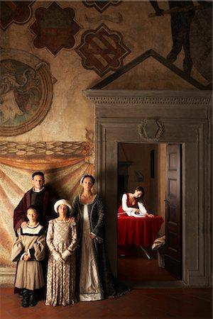 Maid Ironing and Medieval Family, Mugello, Tuscany, Italy Stock Photo - Rights-Managed, Code: 700-02376727
