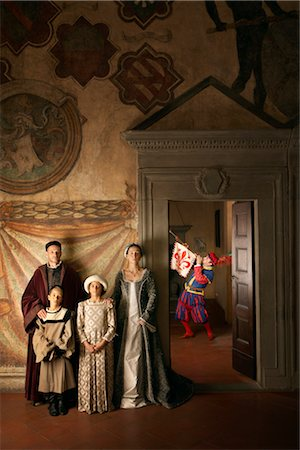 Trumpeter and Medieval Family, Mugello, Tuscany, Italy Stock Photo - Rights-Managed, Code: 700-02376729