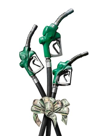Gas Hoses Tied by Dollar Bill Ribbon Stock Photo - Rights-Managed, Code: 700-02377631