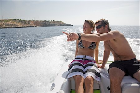 Couple on Speedboat, Mallorca, Baleares, Spain Stock Photo - Rights-Managed, Code: 700-02371166