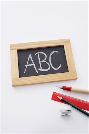 slate - Slate Board, Pencil and Ruler Stock Photo - Rights-Managed, Code: 700-02371457