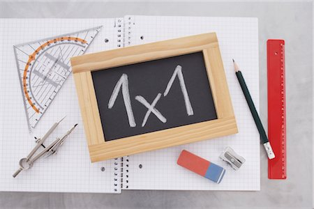 slate - Close-up of Chalkboard and School Supplies Stock Photo - Rights-Managed, Code: 700-02371505