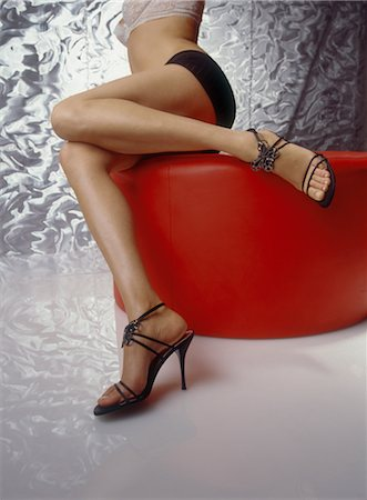 Woman in Stilettos and Underwear on Chair Stock Photo - Rights-Managed, Code: 700-02428544