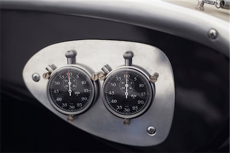 stop watch - Close-up of Stop Watches on Dashboard of Vintage Race Car Stock Photo - Rights-Managed, Code: 700-02428579