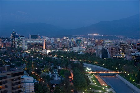 Overview of Santiago, Chile at Night Stock Photo - Rights-Managed, Code: 700-02594251