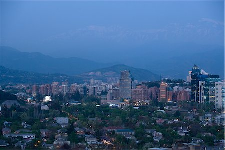 Overview of Santiago, Chile at Night Stock Photo - Rights-Managed, Code: 700-02594252