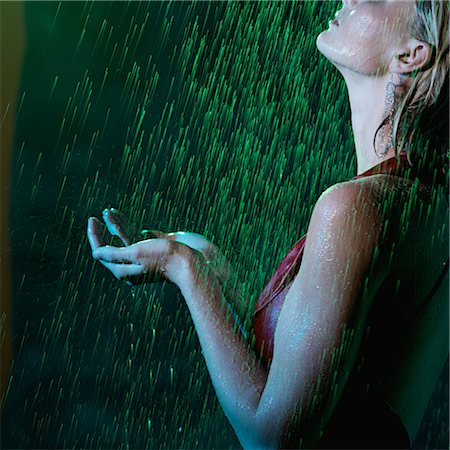 Woman Standing in the Rain at Night Stock Photo - Rights-Managed, Code: 700-02594264