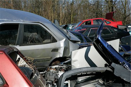 Wrecked Cars in Scrap Yard Stock Photo - Rights-Managed, Code: 700-02594296