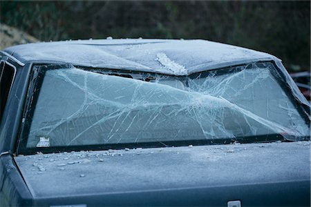 Damaged Car, Frozen in Scrap Yard Stock Photo - Rights-Managed, Code: 700-02594292
