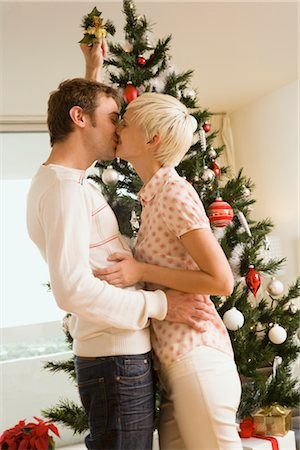 Couple Kissing Under the Mistletoe Stock Photo - Rights-Managed, Code: 700-02594327