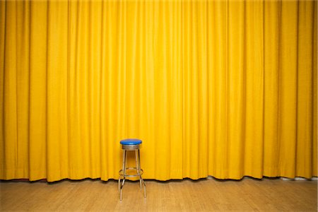 Stool on Stage with Yellow Curtains Stock Photo - Rights-Managed, Code: 700-02593837