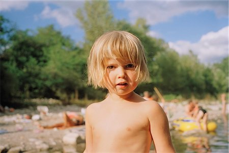 Little Girl at Ardeche River in the Summer, France Stock Photo - Rights-Managed, Code: 700-02593847