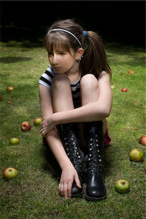 sad girls - Portrait of Girl Sitting on Grass, Surrounded by Apples Stock Photo - Rights-Managed, Code: 700-02633616
