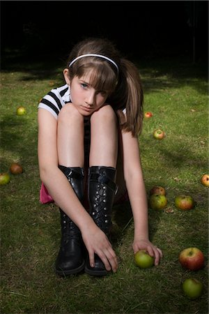 sad girls - Portrait of Girl Sitting on Grass, Surrounded by Apples Stock Photo - Rights-Managed, Code: 700-02633617
