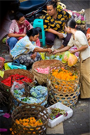 Selling Flowers at Market, Ubud, Bali, Indonesia Stock Photo - Rights-Managed, Code: 700-02659682