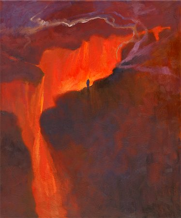 Illustration of Person Standing on Edge of Chasm Stock Photo - Rights-Managed, Code: 700-02671558