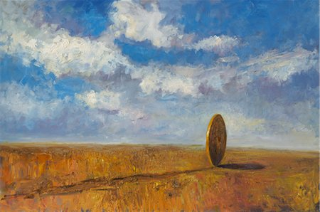 Illustration of a Coin Rolling Across the Prairies Stock Photo - Rights-Managed, Code: 700-02671560