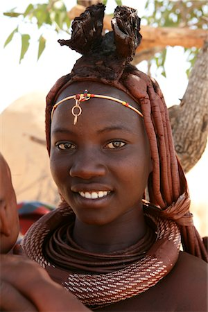 Portrait of Himba Woman With Baby, Kaokoveld, Namibia Stock Photo - Rights-Managed, Code: 700-02694014