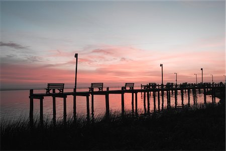 david zimmerman - Benches on Pier at Dusk, Chincoteague, Virginia, USA Stock Photo - Rights-Managed, Code: 700-02694075