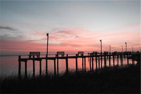 david zimmerman - Benches on Pier at Dusk, Chincoteague, Virginia, USA Stock Photo - Rights-Managed, Code: 700-02694075