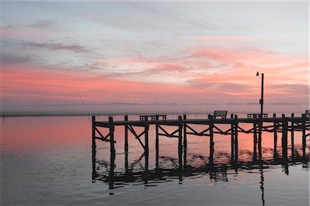 david zimmerman - Benches on Pier at Dusk, Chincoteague, Virginia, USA Stock Photo - Rights-Managed, Code: 700-02694076