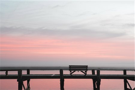 david zimmerman - Bench on Pier at Dusk, Chincoteague, Virginia, USA Stock Photo - Rights-Managed, Code: 700-02694077