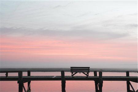 david zimmerman - Bench on Pier at Dusk, Chincoteague, Virginia, USA Stock Photo - Rights-Managed, Code: 700-02694077